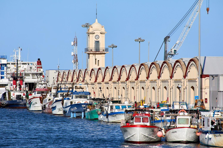 Muelle pesquero con los barcos a su llegada con el pescado que se subhastará en la Lonja